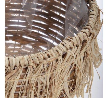 Panier cache-pot en rotin intérieur plastifié D 26cm