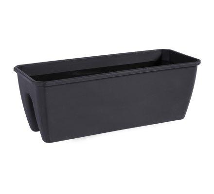 Balconnière, jardinière avec encoche en plastique noir 12,5L