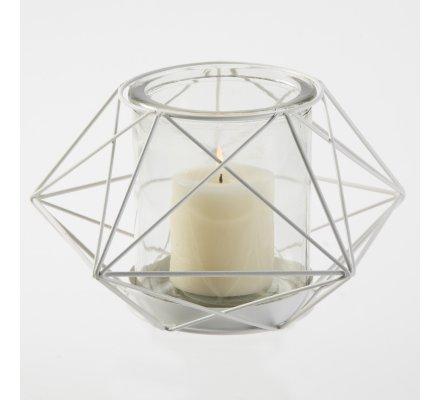 Photophore design étoile origami en métal blanc et pot en verre