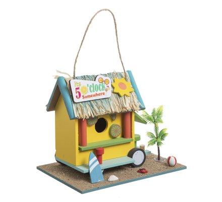 Cabane à oiseaux, nichoir déco roulotte tropicale à poser ou suspendre