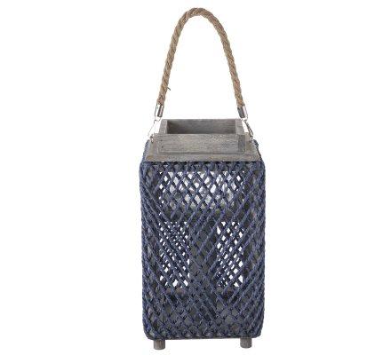 Lanterne photophore en bois et corde tressée bleu 35cm