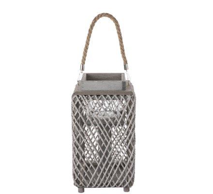 Lanterne photophore en bois et corde tressée gris 35cm