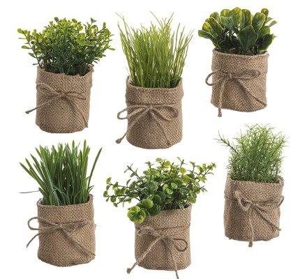 Lot de 6 petites plantes vertes artificielles avec pot en toile de jute 16cm
