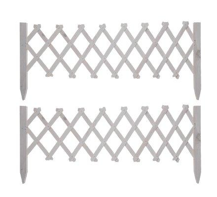 Lot de 2 barrières treillis extensibles en bois coloris blanc 20-100cm