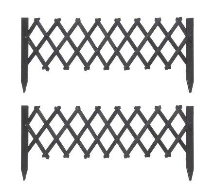 Lot de 2 barrières treillis extensibles en bois coloris noir 20-100cm