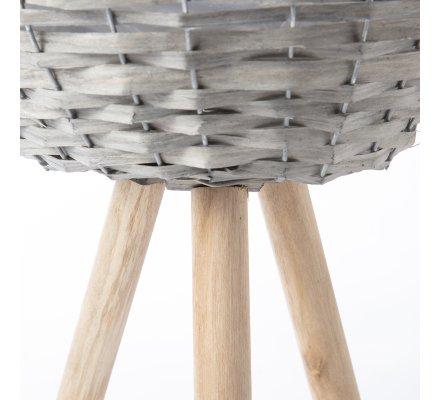 Cache-pot en rotin sur pieds en bois interieur plastifié H45cm x D27cm