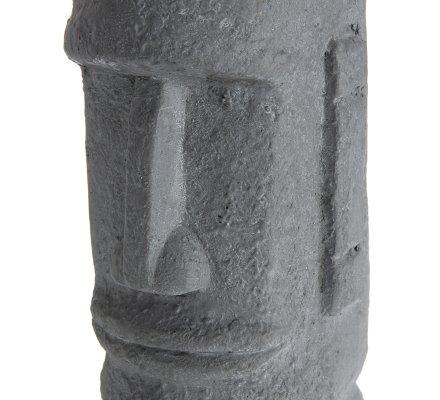 Statue déco tête moaï île de Pâques en résine grise 27x14cm intérieur ou extérieur