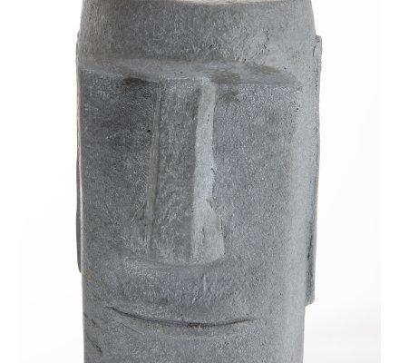 Statue déco tête moaï île de Pâques en résine grise 27x16cm intérieur ou extérieur