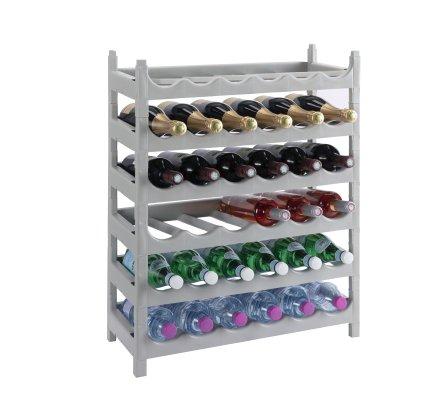 Etagère à bouteille, casier à bouteille modulable plastique 36 bouteilles coloris gris