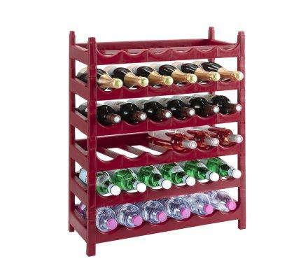 Etagère à bouteille, casier à bouteille modulable plastique 36 bouteilles coloris rouge bordeau