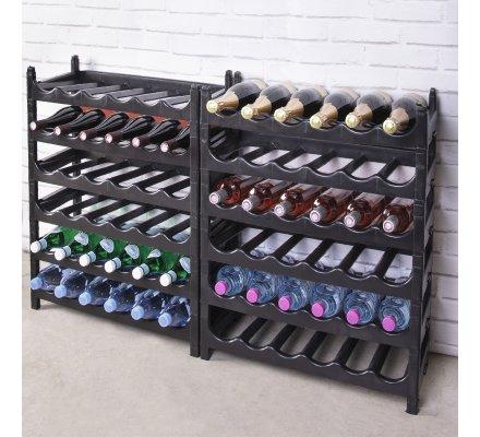 Etagère à bouteille, casier à bouteille modulable plastique 72 bouteilles noir