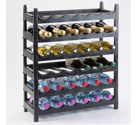 Etagère à bouteille, casier à bouteille modulable plastique 36 bouteilles noir