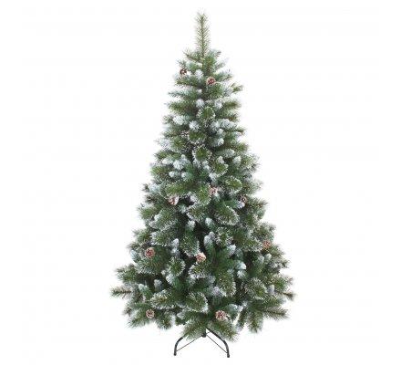 Sapin artificiel luxe pointes blanches 544 branches pied métal et pommes de pin naturelles H180cm