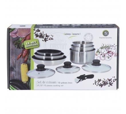Batterie de cuisine en inox, set de 10 pièces casseroles et poêles tous feux