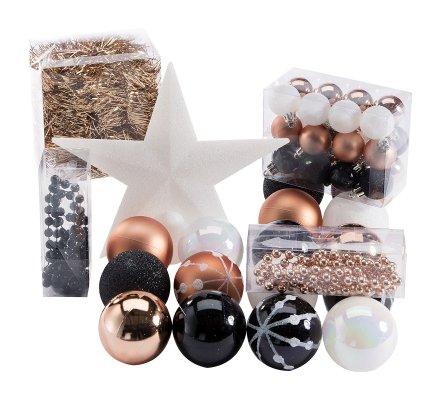 Kit de décoration pour sapin de Noël noir, cuivre et blanc avec boules, guirlandes et cimier 44 pièces