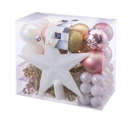 Kit de décoration pour sapin de Noël blanc, rose et doré avec boules, guirlandes et cimier 44 pièces