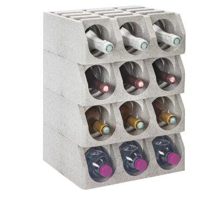 Casier à bouteille, range bouteille modulable en polystyrène gris capacité 12 bouteilles