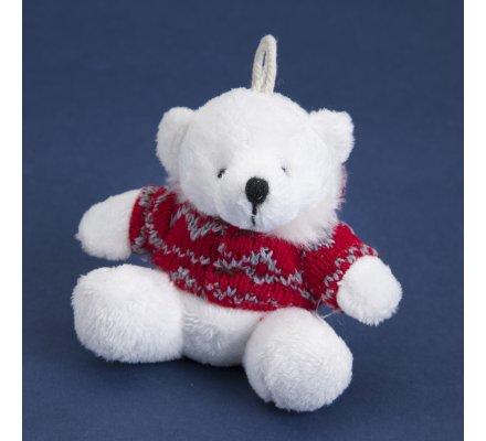 Lot de 4 ours blancs avec pull rouge déco sapin