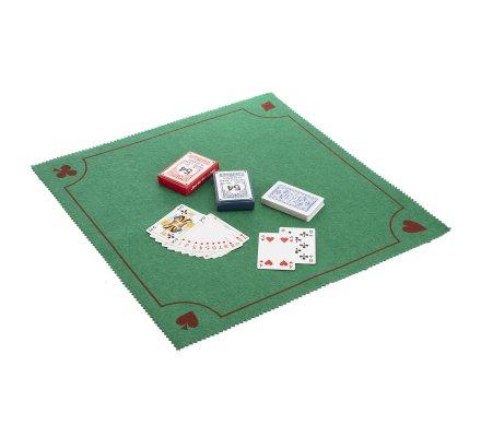 Tapis de jeu 50x50cm 100% polyester avec 2 jeux de cartes offerts