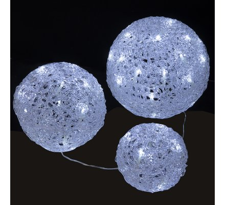 Lot de 3 boules de Noël lumineuses 56 LED, 3 dimensions lumière blanc froid