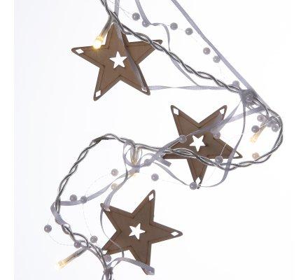 Guirlande de Noël lumineuse 10 LED avec étoiles en bois et perles 135cm