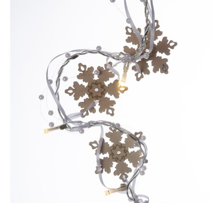 Guirlande de Noël lumineuse 10 LED avec flocons en bois et perles 135cm