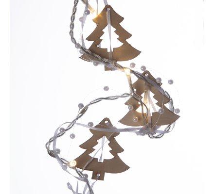 Guirlande de Noël lumineuse 10 LED avec sapins en bois et perles 135cm