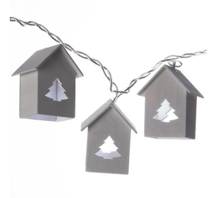 Guirlande de Noël lumineuse à LED, 10 petits chalets avec étoiles en bois 135cm