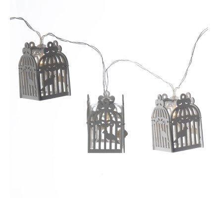 Guirlande de Noël lumineuse à LED, 10 cages en bois blanc 135cm