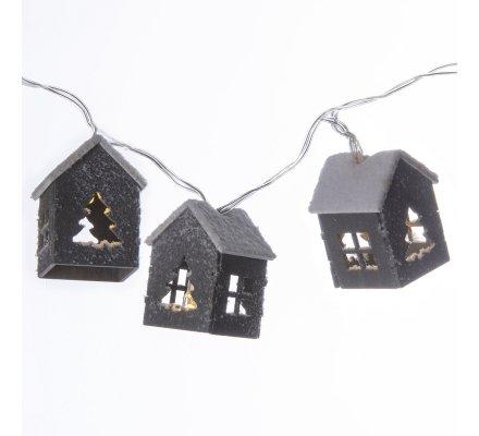 Guirlande de Noël lumineuse 10 LED petits chalets en bois 135cm