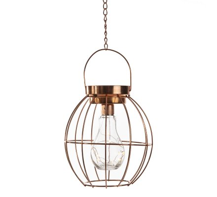Lanterne déco ampoule 10 leds à suspendre en métal effet cuivre lumière blanc chaud fixe