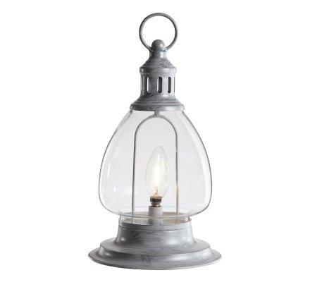 Lanterne déco ampoule Led blanc chaud en métal gris cérusé