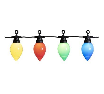 Guirlande lumineuse guinguette 20 Led multicolores 10m intérieur ou extérieur lumière fixe