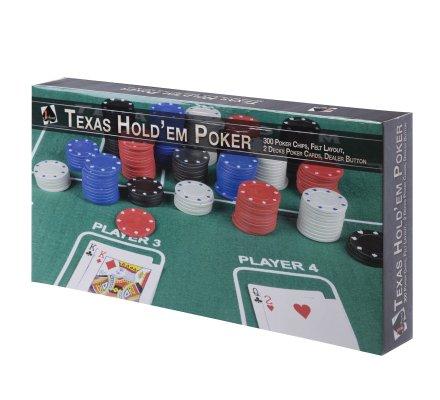Coffret jeu Texas hold'em Poker 300 jetons, tapis en feutrine vert, 2 jeux de cartes et bouton dealer