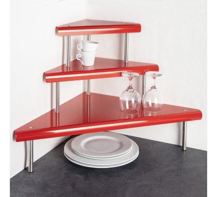 Etagère d'angle 3 niveaux en métal rouge 67 x 48.5 x 48.5cm