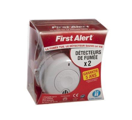 Lot de 2 détecteurs de fumée avertisseurs autonomes piles incluses first alert