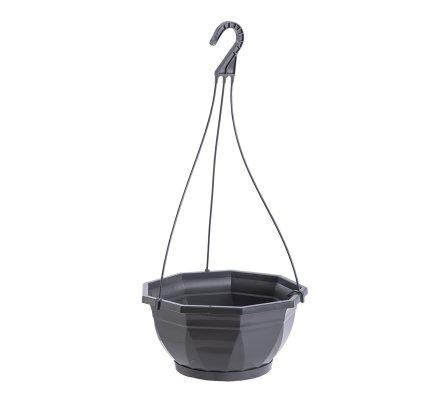 Jardinière, corbeille à suspendre en plastique anthracite D 26cm