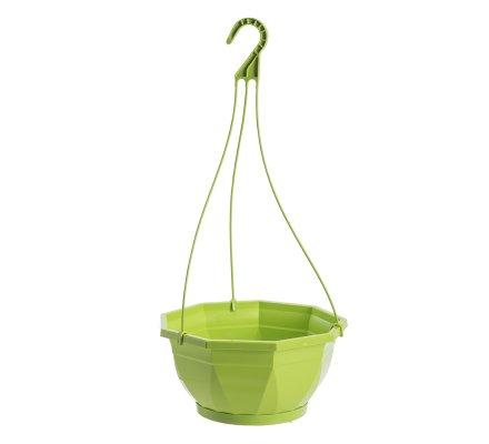 Jardinière, corbeille à suspendre en plastique vert D 26cm
