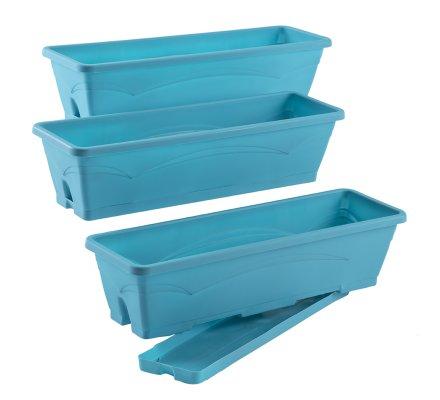 Lot de 3 balconnières, jardinières 6L avec plateaux clipsés coloris Bleu turquoise EDA