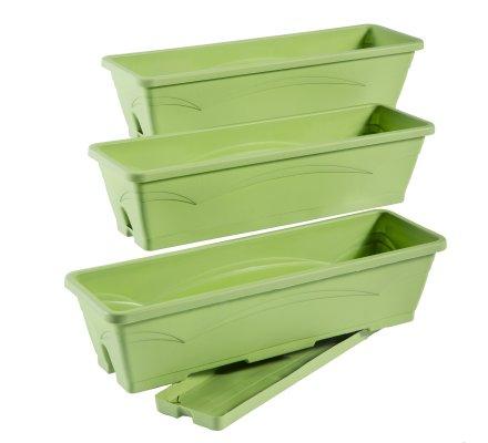 Lot de 3 balconnières, jardinières 6L avec plateaux clipsés coloris vert pistache