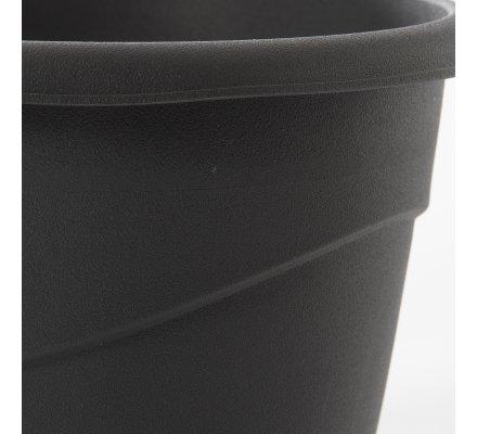 Lot de 2 cache-pots en plastique gris anthracite 2L EDA D18cm x H15cm