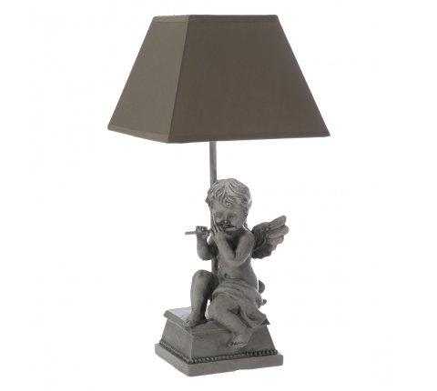 Lampe à poser ange en résine grise et abat-jour taupe H 46cm
