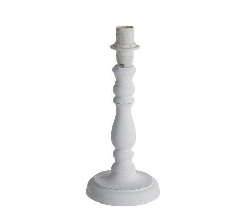 Pied de lampe en bois effet vieilli blanc 25cm
