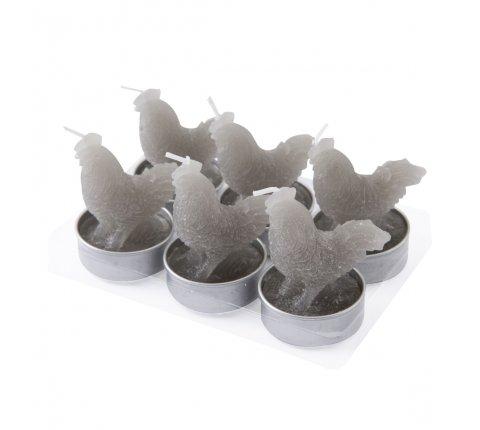 Lot de 6 bougies chauffe-plat coq gris