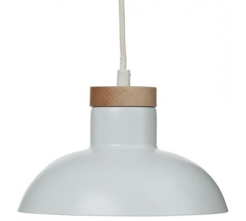 Suspension, luminaire en métal blanc et bois D 20cm