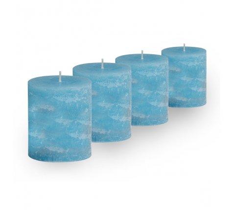 Lot de 4 Bougies cylindriques rustiques (h)60x(d)45mm Turquoise