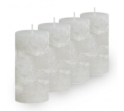 Lot de 4 Bougies cylindriques rustiques (h)100x(d)45mm Blanc