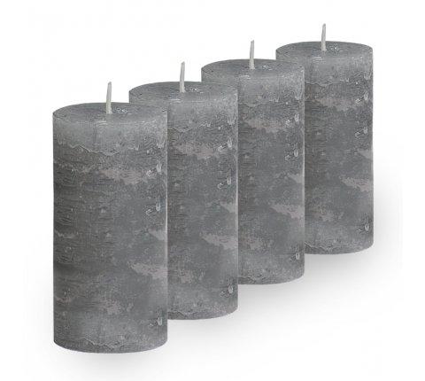 Lot de 4 Bougies cylindriques rustiques (h)100x(d)45mm Gris clair