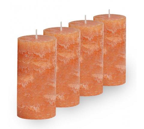 Lot de 4 Bougies cylindriques rustiques (h)100x(d)45mm Orange