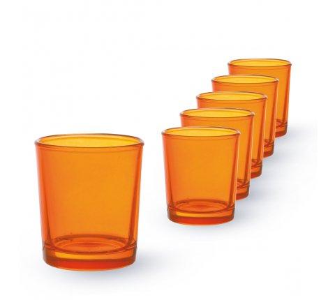 Lot de 6 Lumignons (h)6,5x(d)6cm Orange (Translucide extérieur)